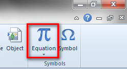 equation toolbar