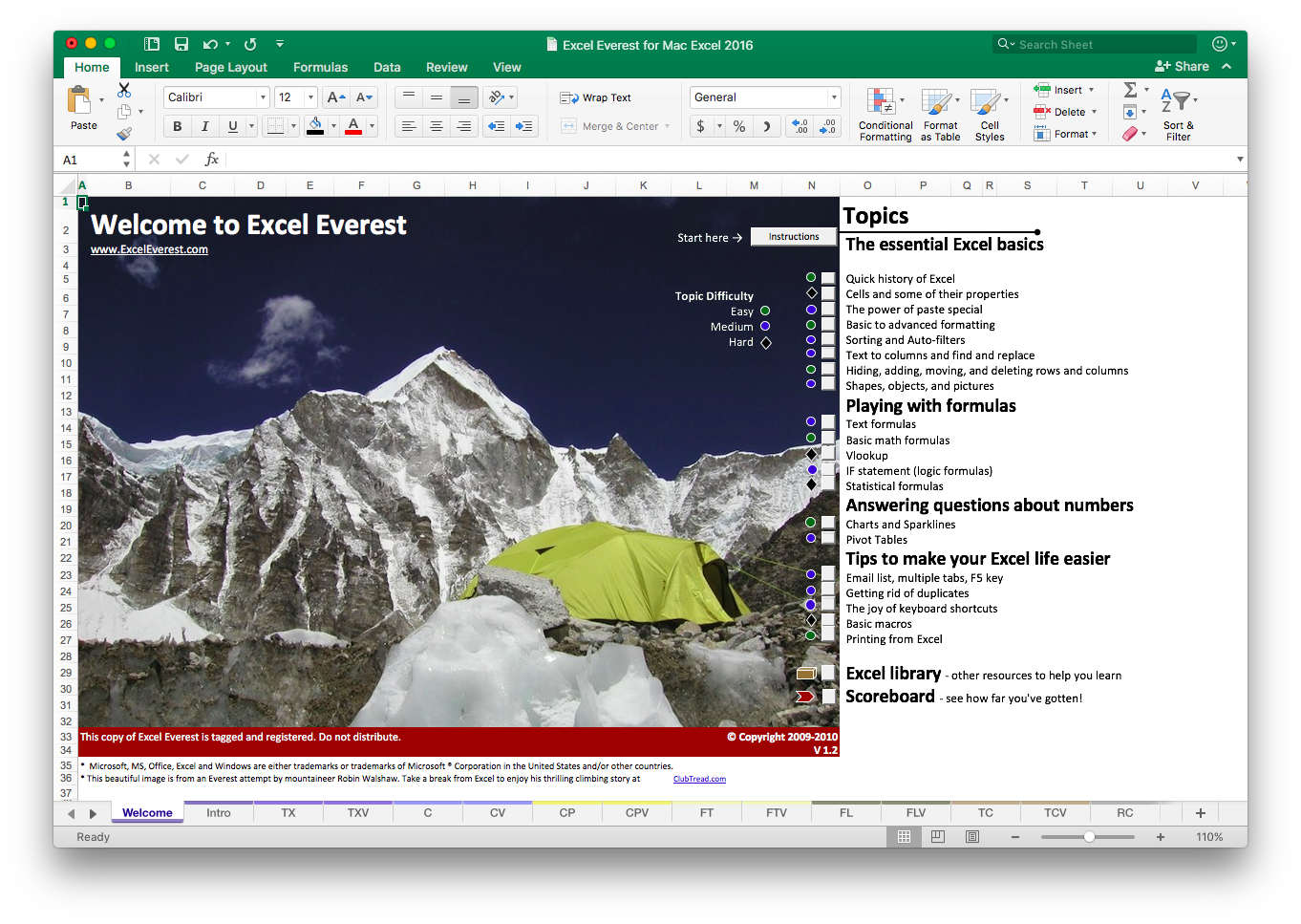 Step 1 - Purchase and Download - Once you purchase Excel Everest, we'll register a copy to you and send you a link for downloading. The entire course takes place inside a big Excel file, so you'll be able to save your progress along the way.