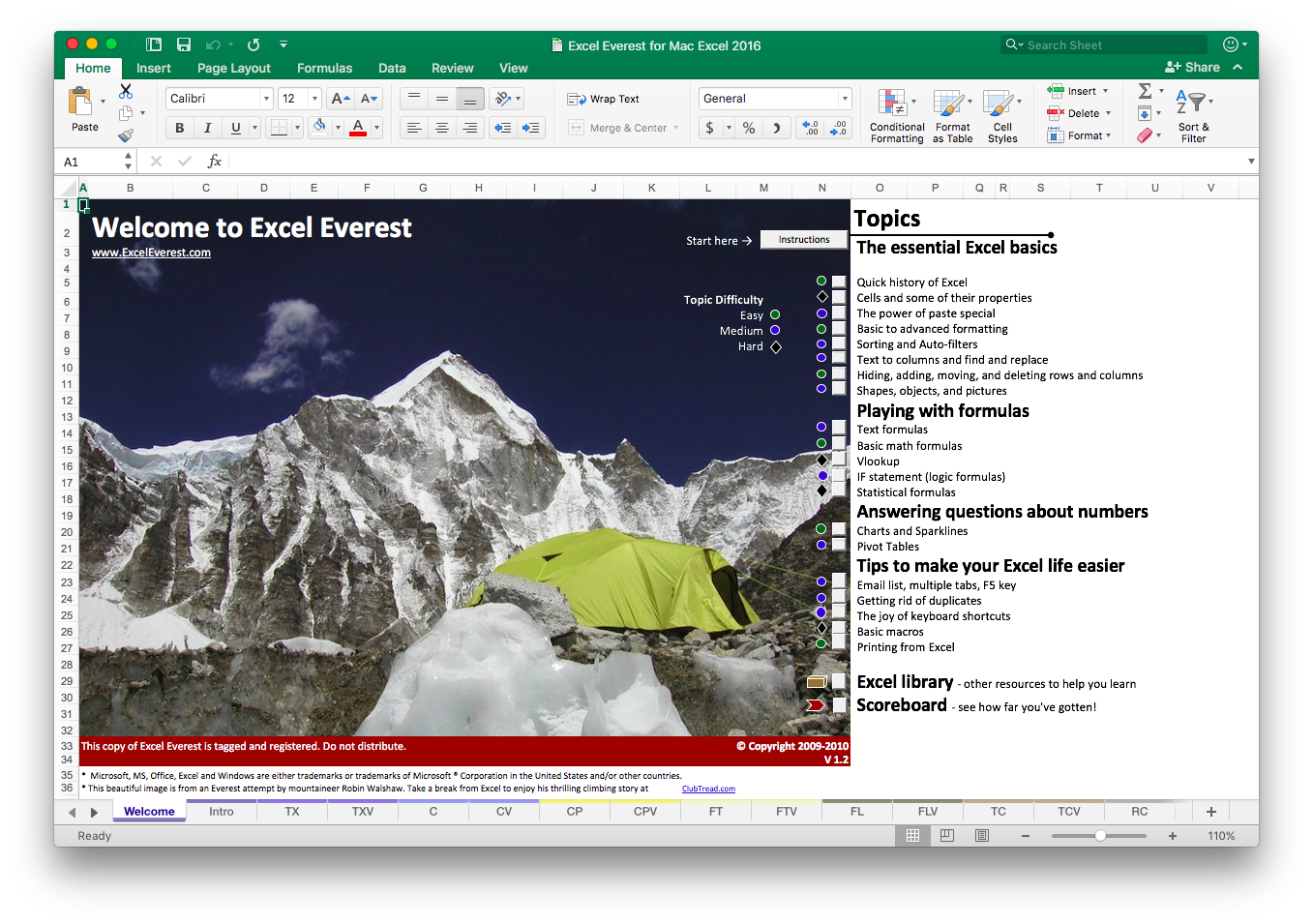 Easy-to-follow curriculum - Excel Everest has 41 key business topics and over 150 interactive exercises. All are organized logically and simply in the order you should learn them.