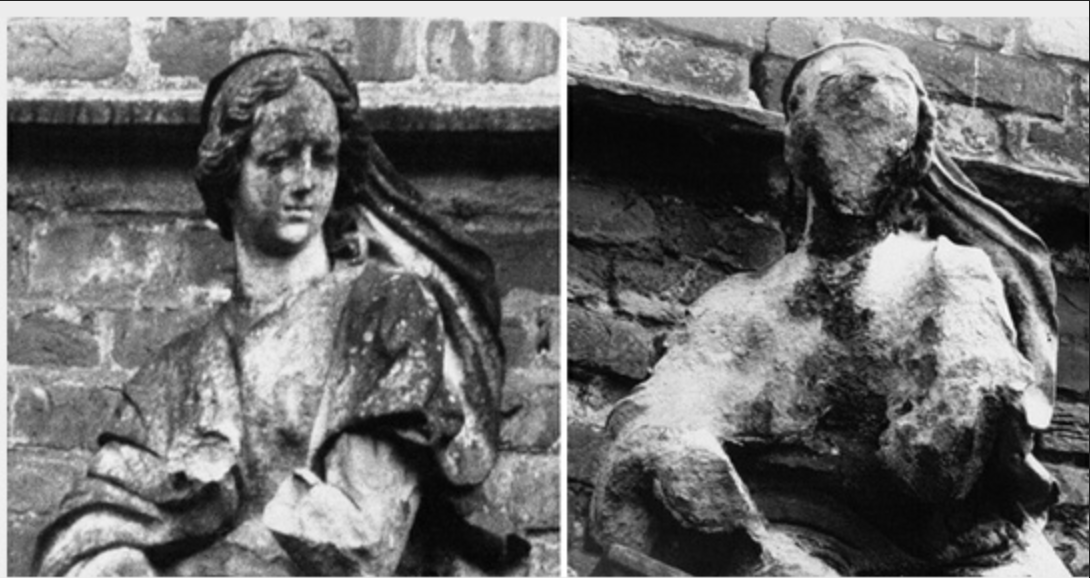 Figure 1. The effect of acid rain on limestone sculpture over time.  Chemistry@Elmhurst