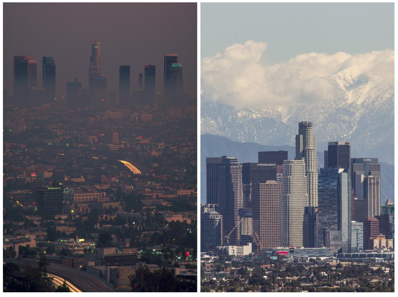 Left: A smoggy haze lingers over the L.A. skyline in the 1980s. Right: The city's air is clear after a winter storm in March, 2015.  As Smog Thins in L.A., Dramatic Evidence of Kids' Healthier Lungs  National Geographic  PHOTOGRAPHS BY PHILIP JAMES CORWIN, CORBIS (LEFT) AND RINGO CHIU, ZUMA WIRE/CORBIS (RIGHT)