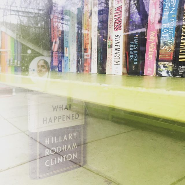 Give a book, take a book  #giveabooktakeabook #giveabookgetabook #library #chicago #chigram #chi #layers #reflection #whathappened #books #hillaryclinton