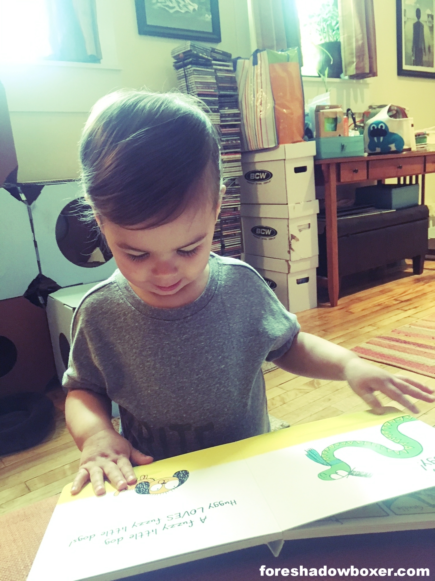"""I'm convinced the sign of a good book, for a toddler, is anything they grab off of the shelf and """"read"""" to themselves (as seen here)."""