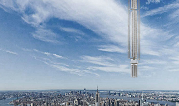 Rendering of Analemma Tower suspended from an asteroid moving over New York City.