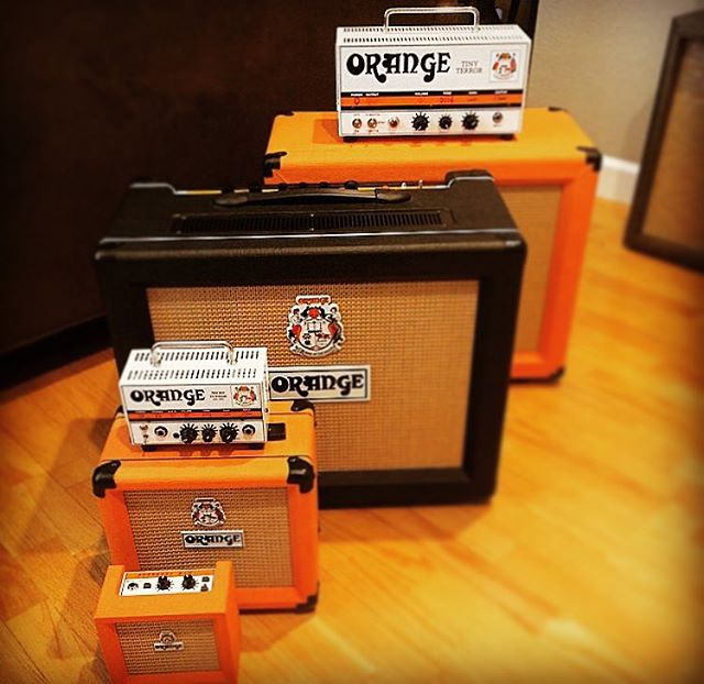 One happy family. #wrightgear #orange #guitar #amp