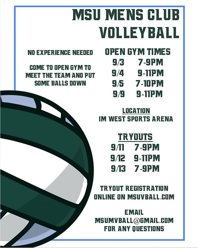 From the entire mens team, we invite everyone to come out to our open gyms and tryouts for the 2019-20 season. Come check out our table today at Sparticipation if you want to sign up! #gogreen
