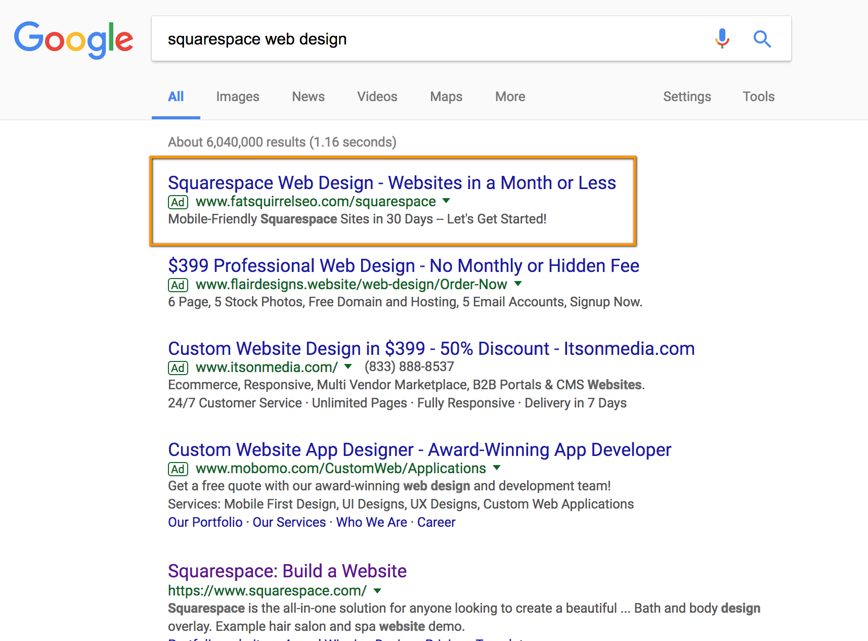 With squarespace.com occupying the #1 organic result on Google, i run Paid search ads for related queries to help generate leads.