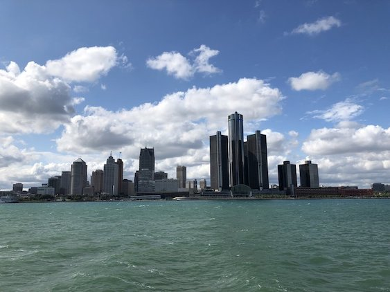 downtown detroit skyline from river