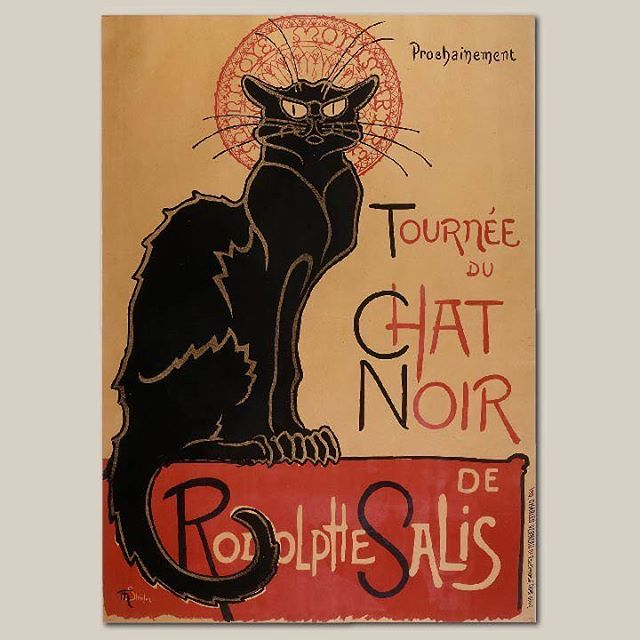 "A bit of art history for you:  From the French art nouveau period, ""Tournee du chat noir"" was a poster designed for Rodolphe Salis's Le Chat Noir nightclub in Paris, created in 1896 by Theophile Alexandre Steinlen. Steinlen came to Paris at age 22 and had an affinity for cats -- some of his first commissions in Paris were cat drawings for Le Chat Noir. He was a prolific illustrator in the 1880s and 1890s, with a vast oeuvre of over 2,000 magazine covers and interior illustrations, 200 sheet-music covers, over 100 book illustrations, and three dozen large posters.  Source: Meggs' History of Graphic Design, Fourth Edition  #posterdesign #arthistory #artnouveau #design #print #posters #LeChatNoir #graphicdesign"