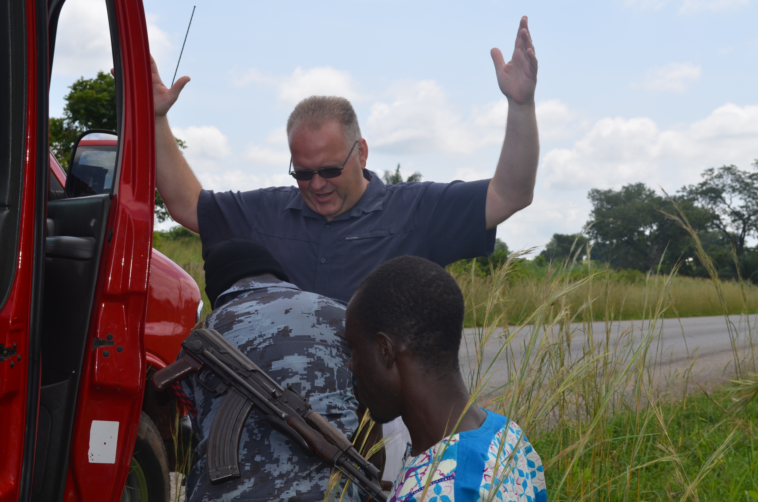 Police had a roadside stop where we were all patted down (I think they found their guy!)