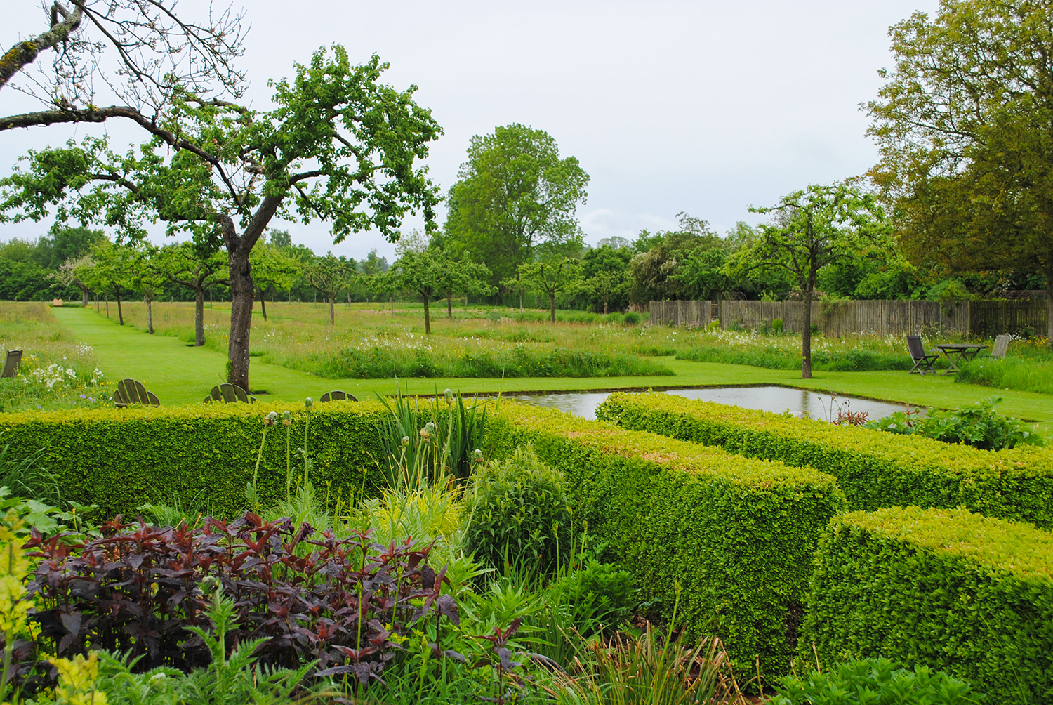 Close to the house, topiaried box provide a framework for rambunctuous perennials.