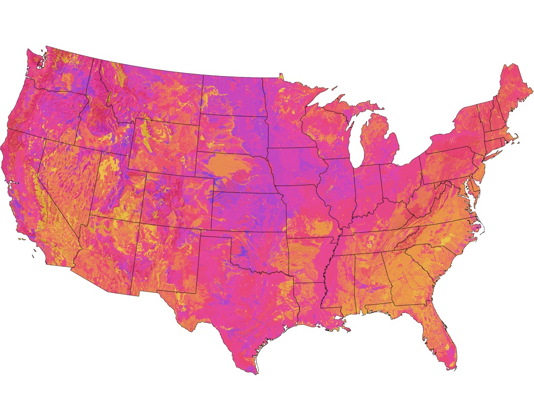 All credit to  Bradley Miller, Randall Schaetzl, and Frank Krist, Jr.  for their incredible work creating this soil fertility index map.  The link in the caption provides a more detailed legend, but again yellow/orange soils are least fertile, pink is in between, and purple/blue soils have the highest fertility.