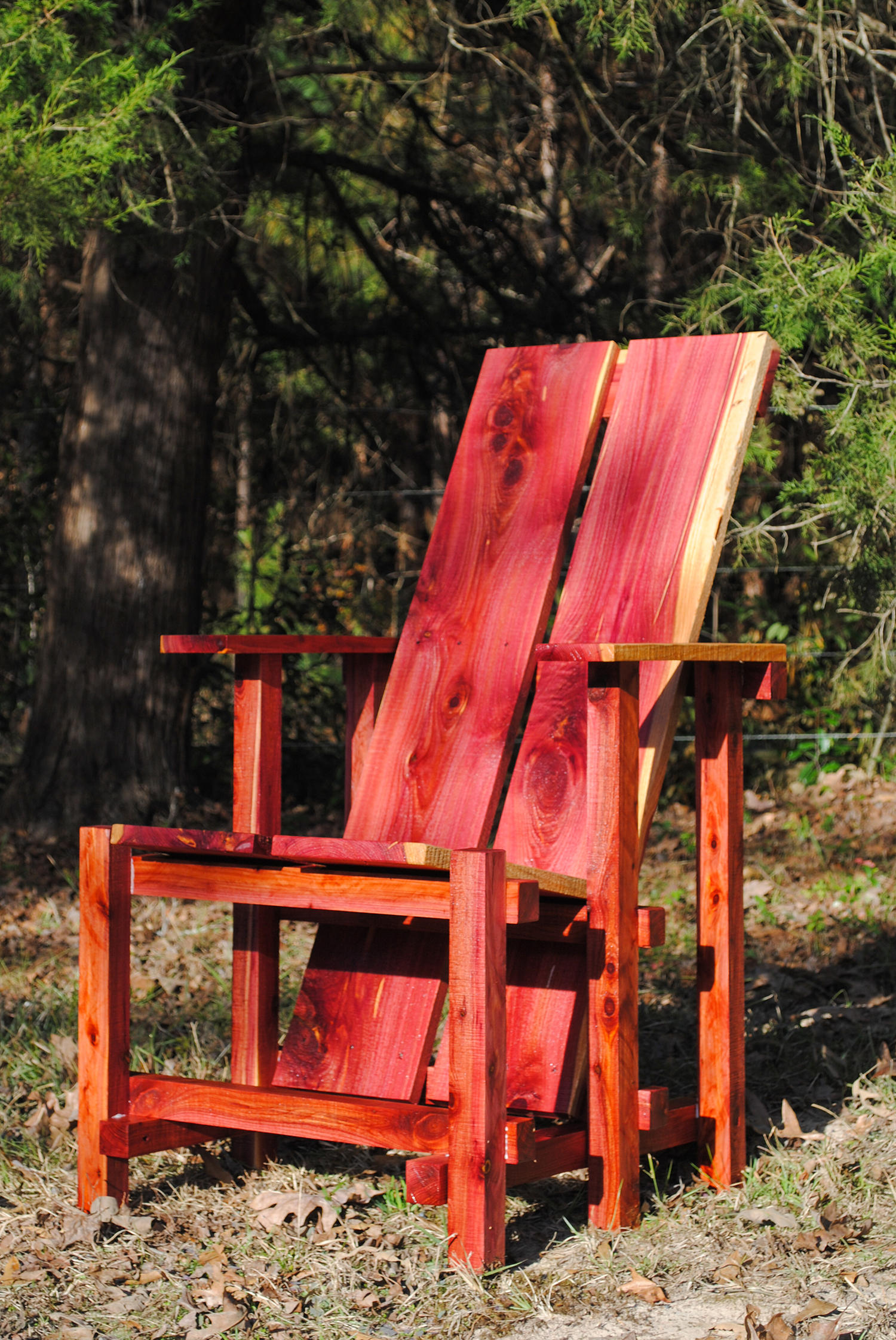Freshly cut, you can see where eastern red cedar gets it's name. The color will fade to a nice warm tan.