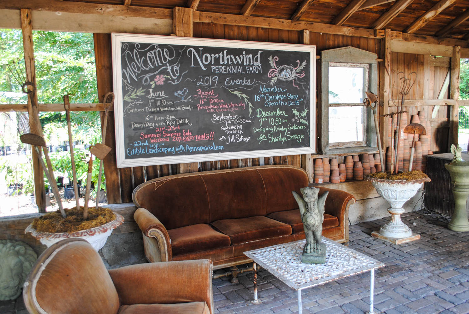 This cute little sitting area was just outside the barn. Notice how the chalkboard features many events for the coming year.
