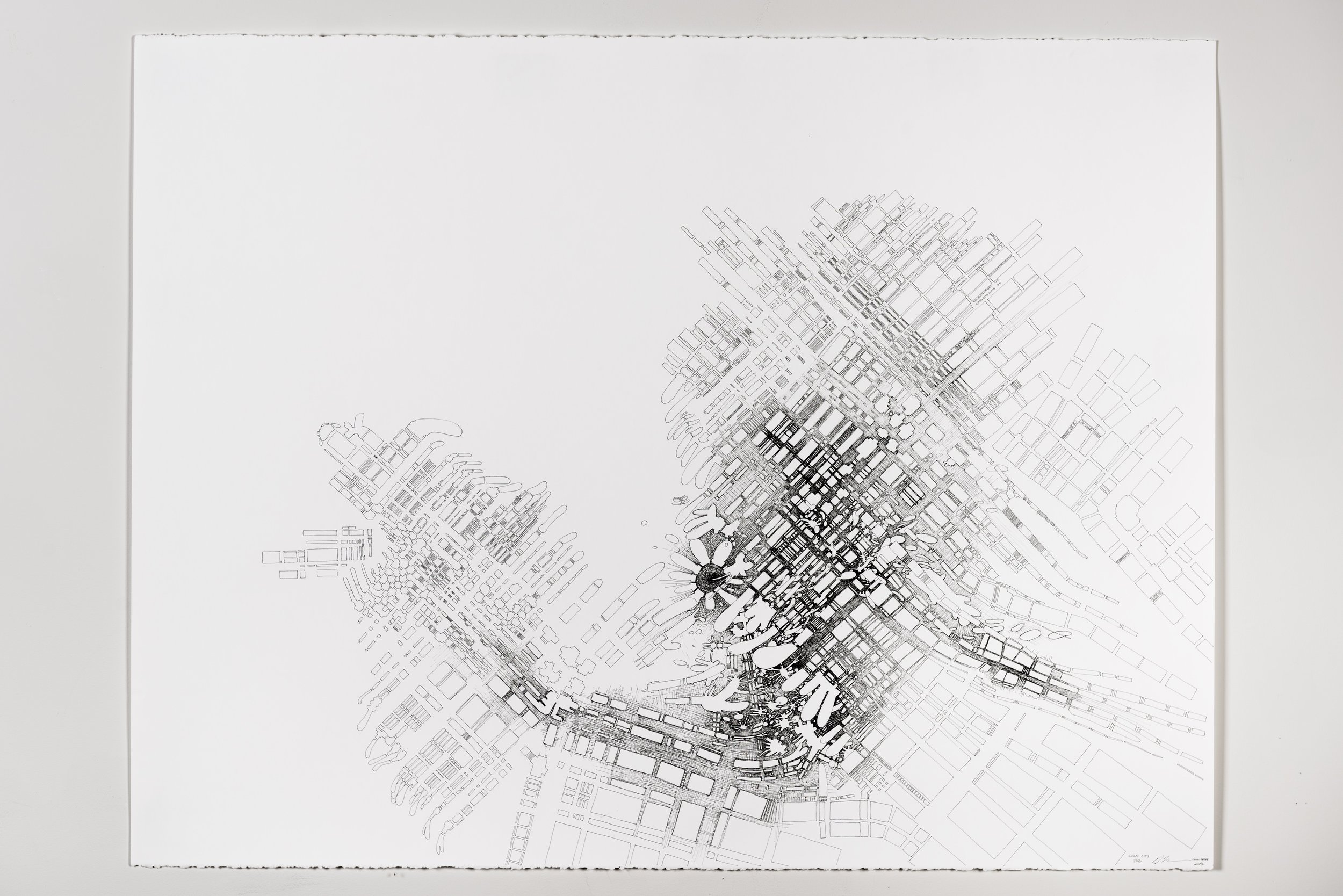 """Colin Keefe, """"Cloud City"""", 2016, Ink on Paper, 38"""" x 50"""""""