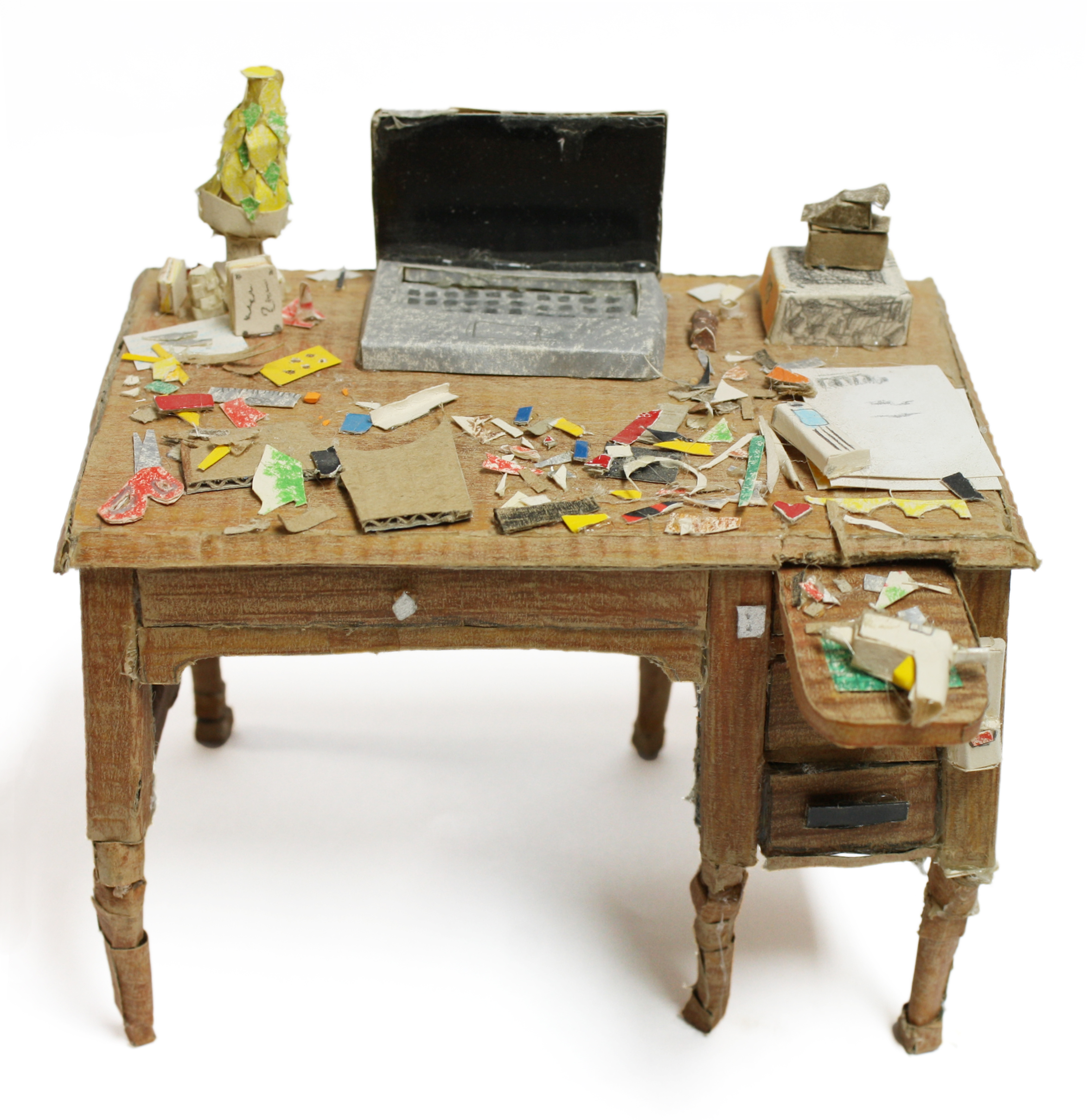 "Lucia Thome, Desk, Paper Construction, 5.5""x 4"" x 4"", 2016"