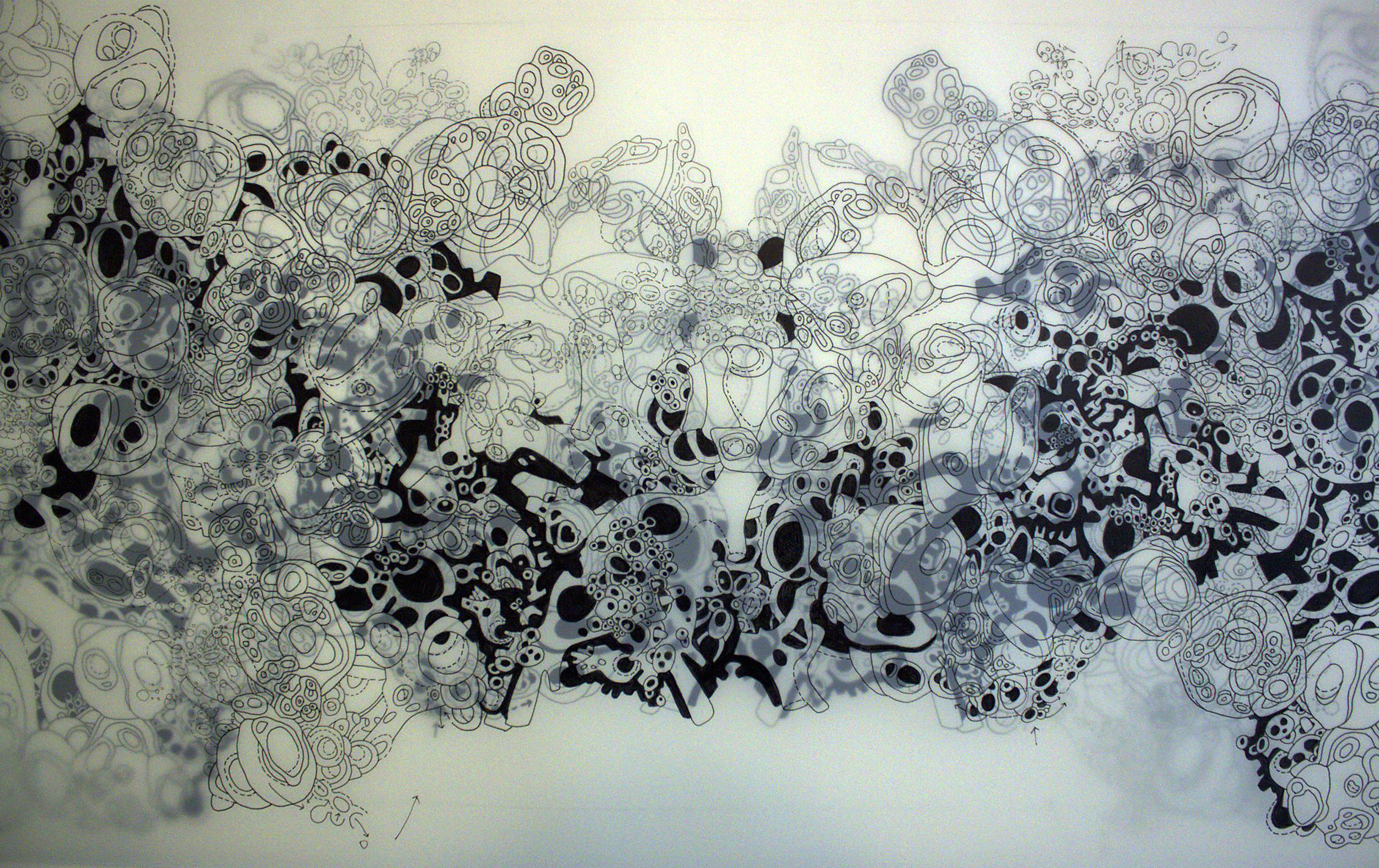 "Terri Saulin Frock, Body Without Organs/Wasp Traces Orchid, Ink on Denril, 60""x 24"", 2015"