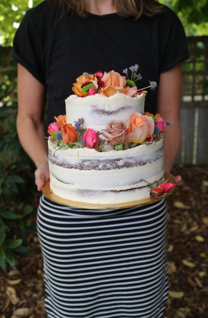 Semi-naked two tiered birthday cake