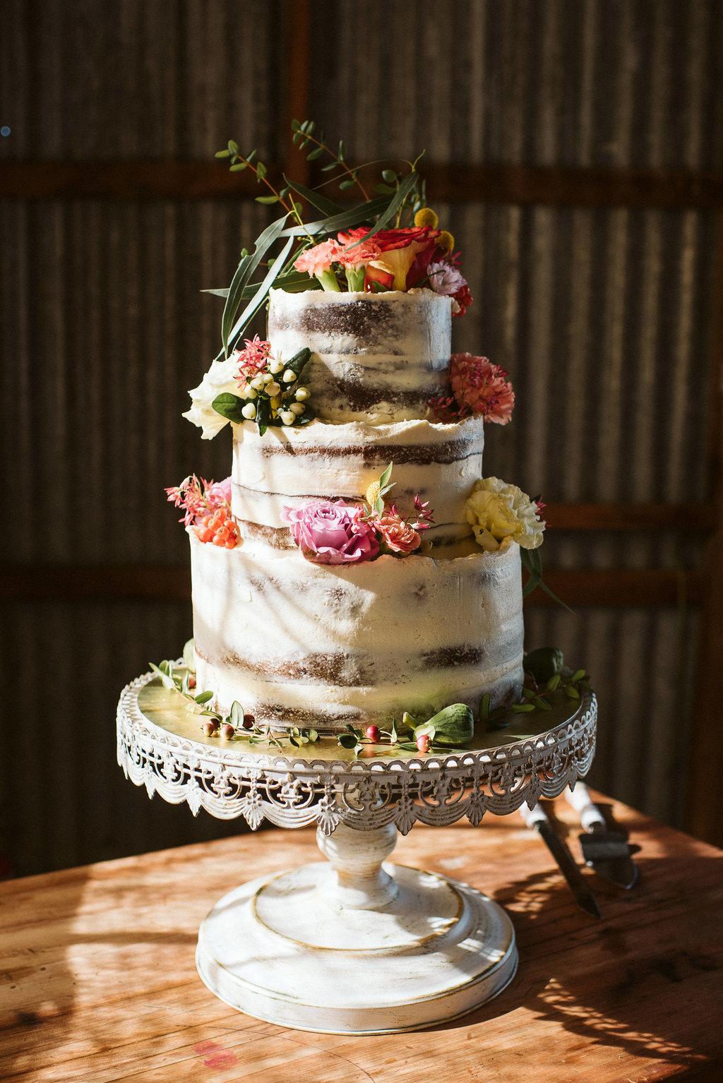 Peppermint Kitchen semi-naked Wanaka Wedding cake