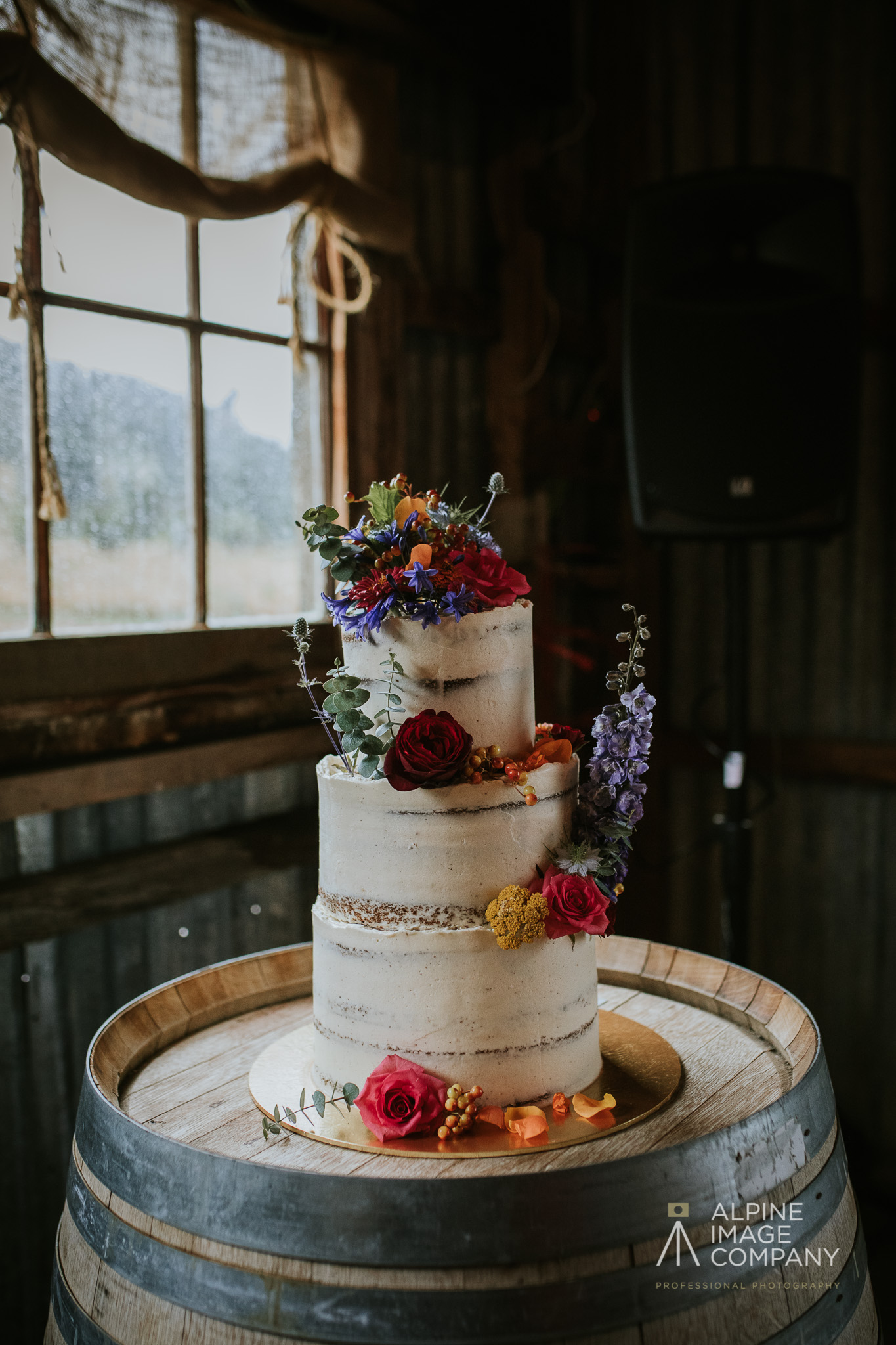 Tall semi-naked Wanaka wedding cake