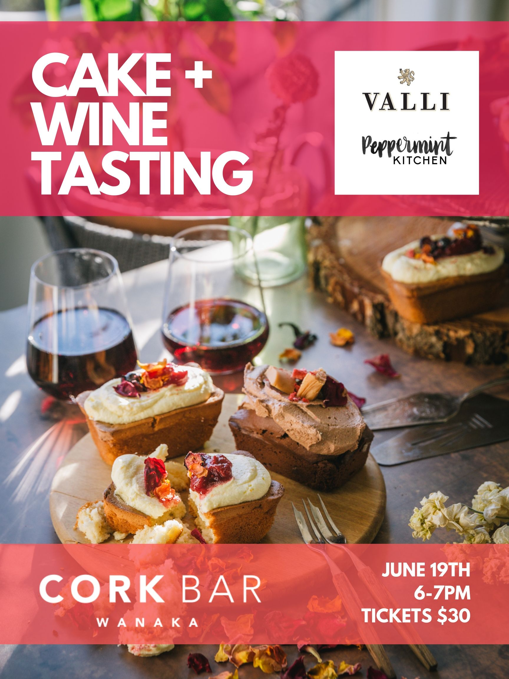 Peppermint Kitchen Valli Wines Cake and Wine Tasting