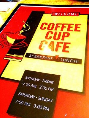 The front of the menu at The Coffee Cup Cafe.