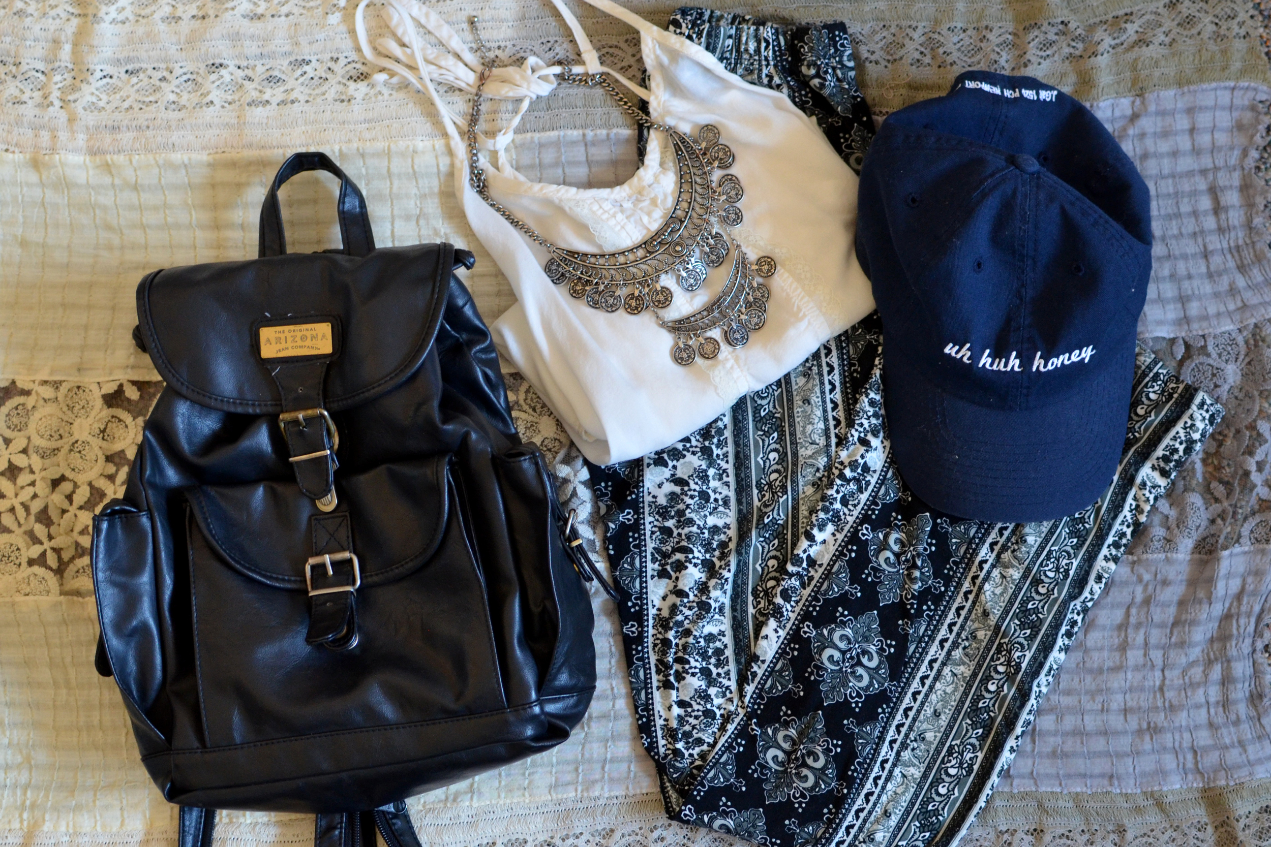 Backpack/ Goodwill, Pants/Ebay, Top/Free people, Hat/Johngalt