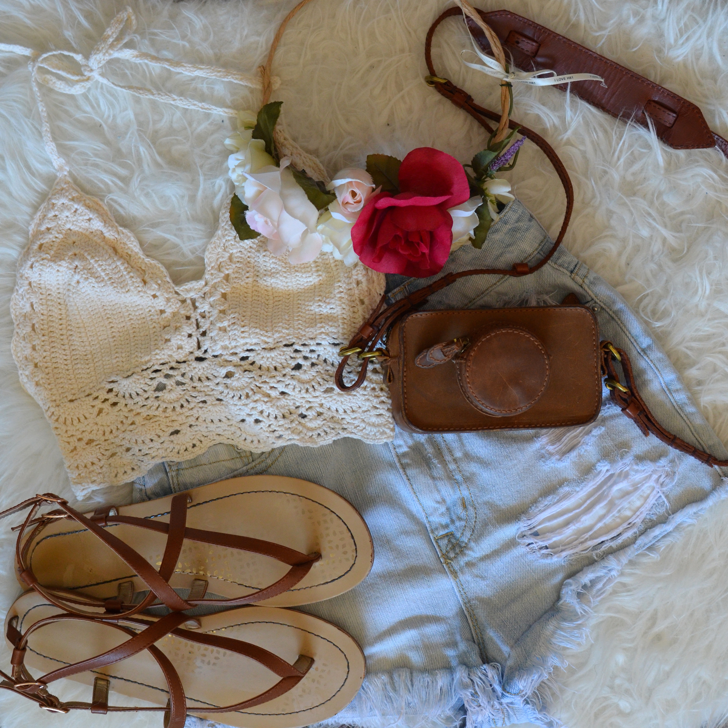 Top/Ebay, Bottoms/ Urban outfiters, Bag/Madewell, Flowercrown/DIY, Shoes/Target
