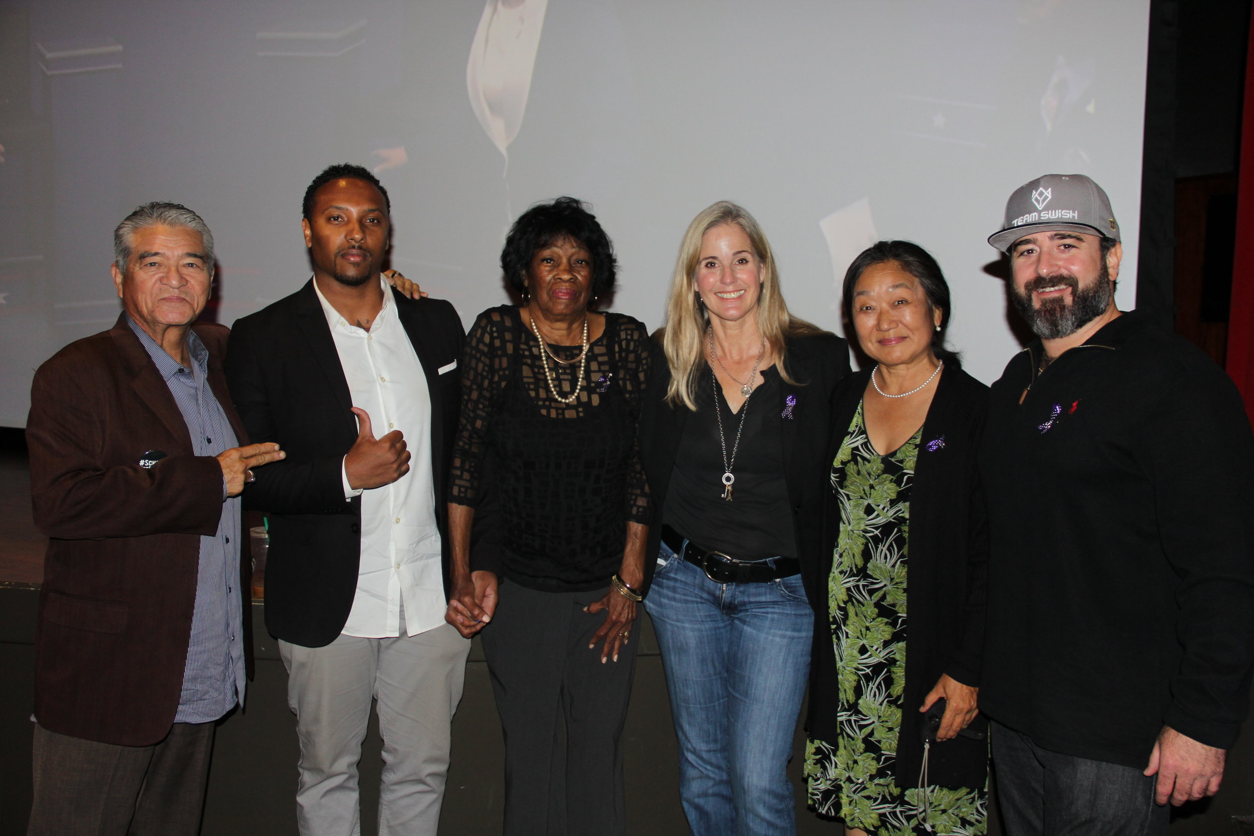 """From left: Josof """"Jojo"""" Sanchez, Kevin Maxwell, Cora Maxwell, Pam Rayburn, Julie Matsumoto and David Field.  Photo courtesy of the Department of Women's Gender and Sexuality Studies."""