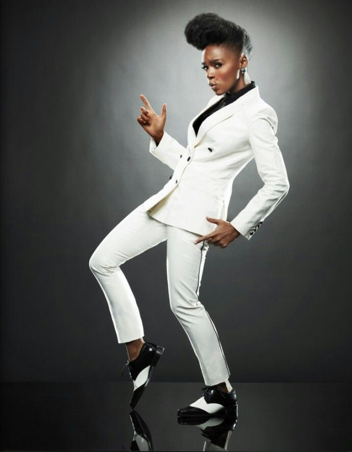 Janelle Monáe in her signature androgynous style