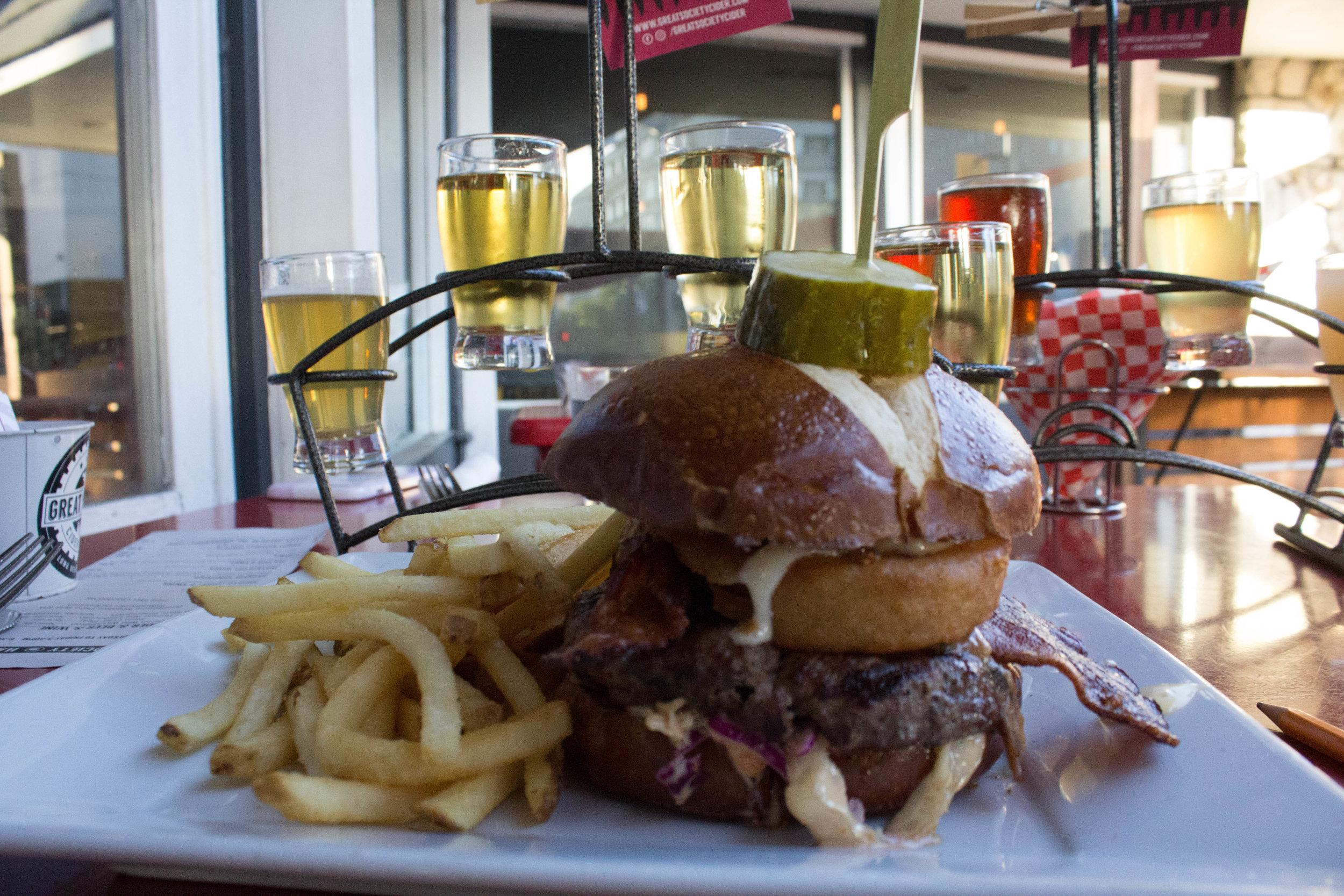 Irish Whiskey Burger and Fries.  Photo Credit: Jaron Cofield