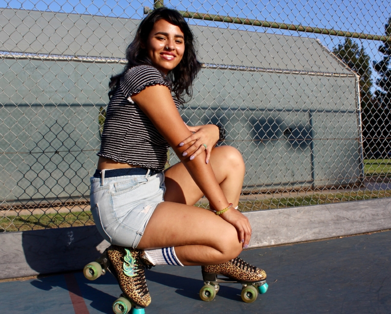 Skating has become one of the few sports that Alejandra Ceceña, skating name AU, really likes. For her, roller skating fashion is just whatever you feel good in; her aesthetic is a combination of cute and mobile. Her outfits stem from her cheetah print skates, which are an important part of the look.