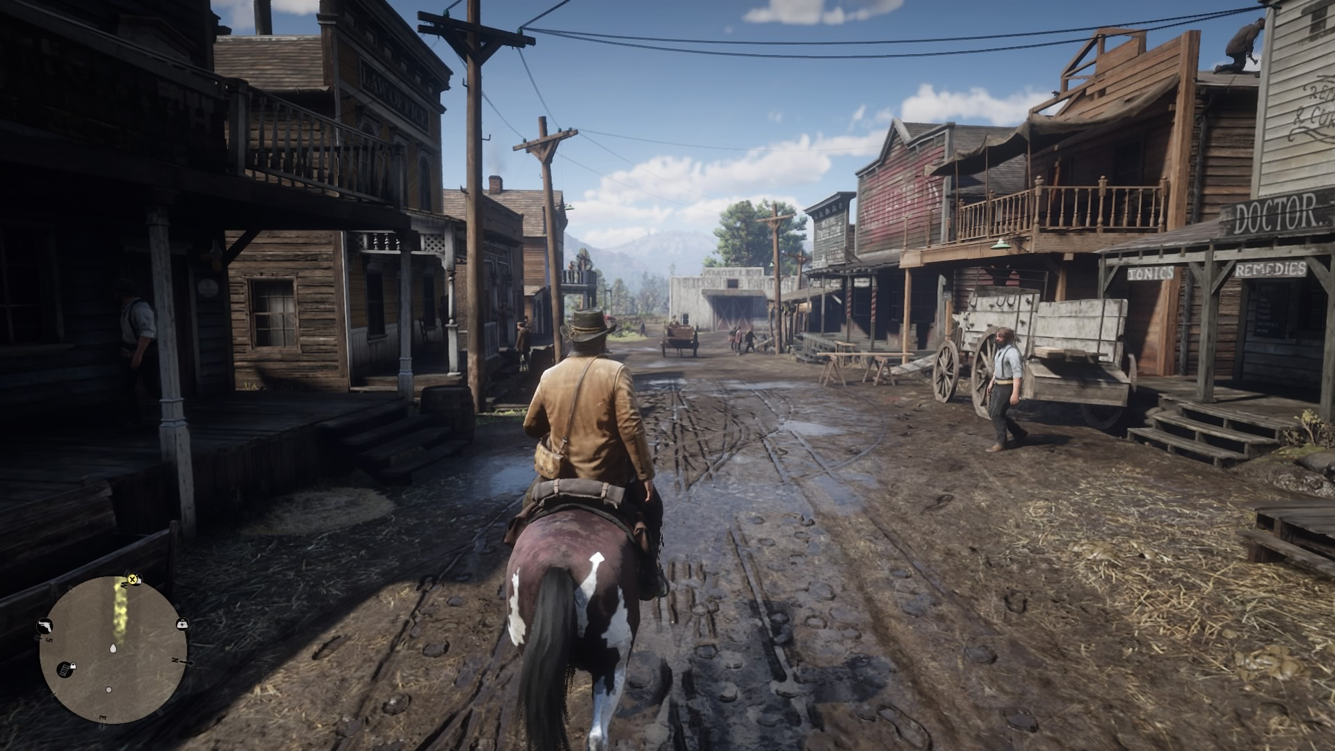 Screenshot By Jacob Ybarra (Playstation 4).  The protagonist Arthur Morgan, entering the quaint town of Valentine.