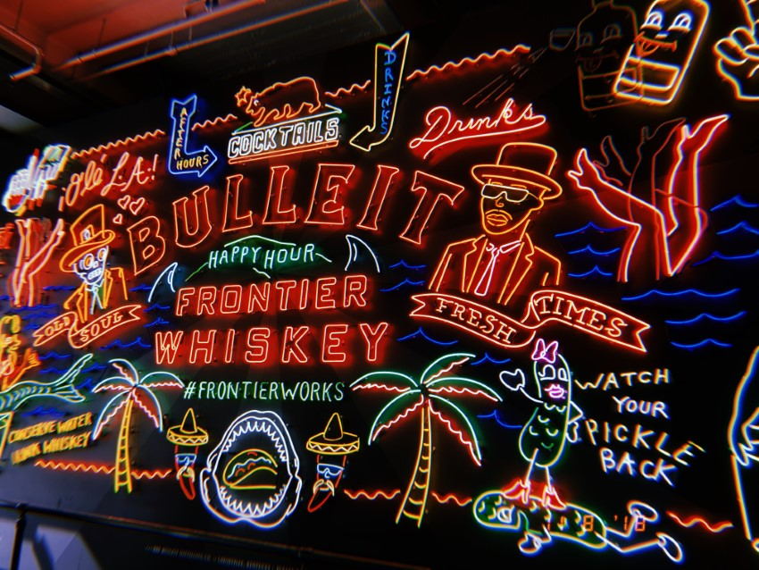 Bulleit Frontier Whiskey collaborated with Glendale's Museum of Neon Art to create this neon sign inspired by LA's vibrant neon community.