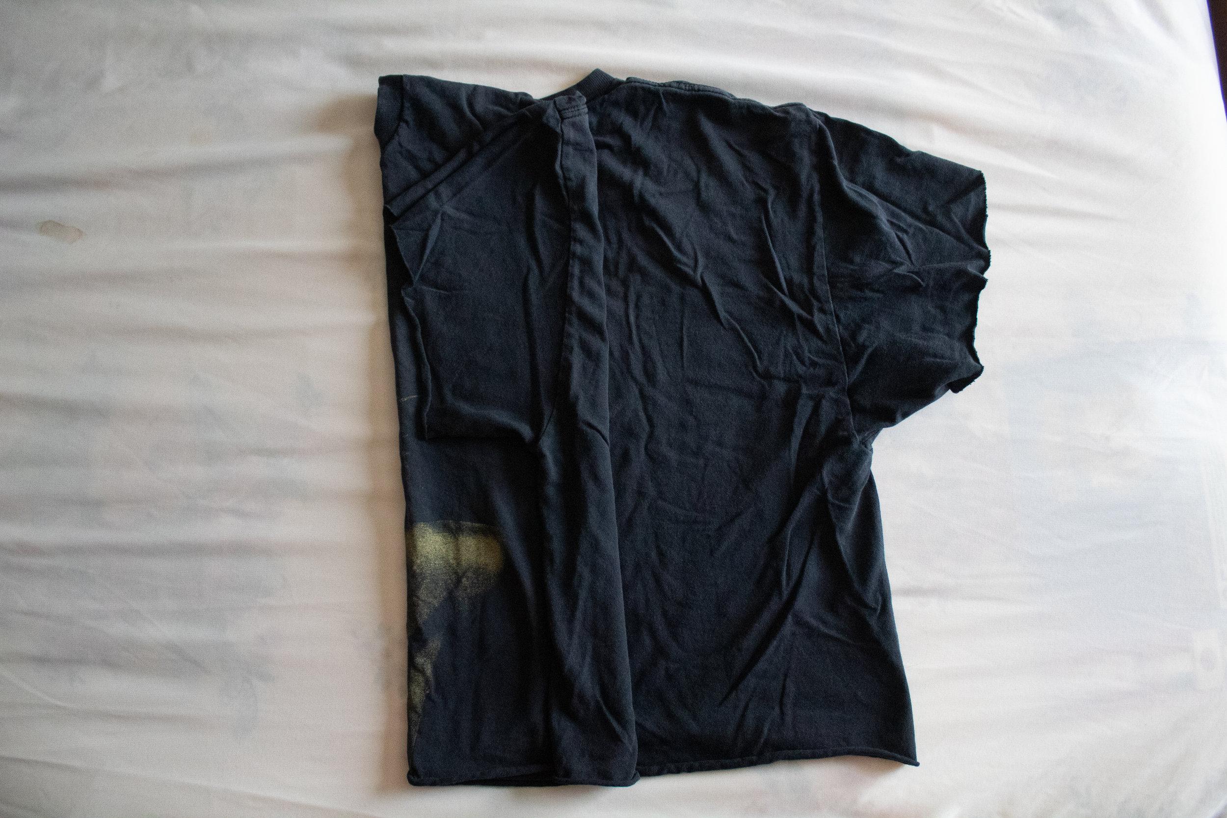 2. fold the shirt in half