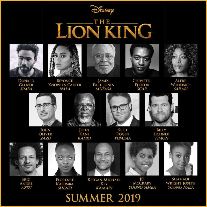 "JULY 19 - The all-star cast and original voice of James Earl Jones are what truly makes this remake the perfect mix of high expectations and unbridled excitement. Not only is the live action trailer a second by second doppelganger of the original animation, but it also pulls us back to childhood nostalgia from its first scene of the sun rising and song ""Circle of Life."" The film immediately attracted attention as the magic of the story remains unchanged and the add-in of celebrity voices like Seth Rogen and Beyonce. Audience members in their mid to late 20's will be pushing little kids out of the way for a seat in the theatre."