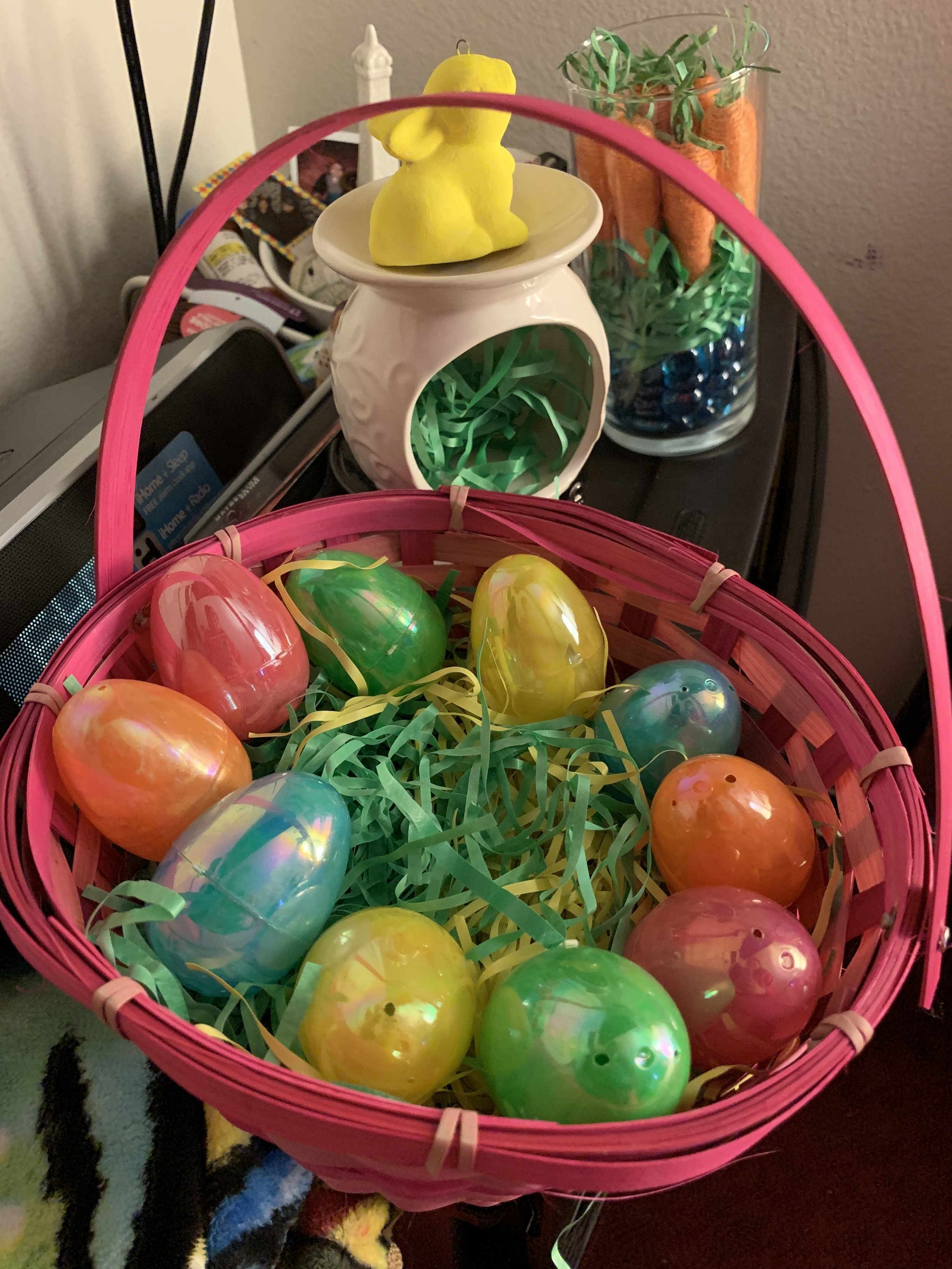 - Step 1: I found a unique basket with different shades of pink, but you can select any color for your basket.Step 2: Add Easter grass inside the basket. This is where I had fun with it and added a different color of grass from pink to yellow.Step 3: I topped it off with these hologram eggs and piled them around the basket. You can also add money or small trinkets. This is perfect to give away for Easter or simply use it as a centerpiece for your home.