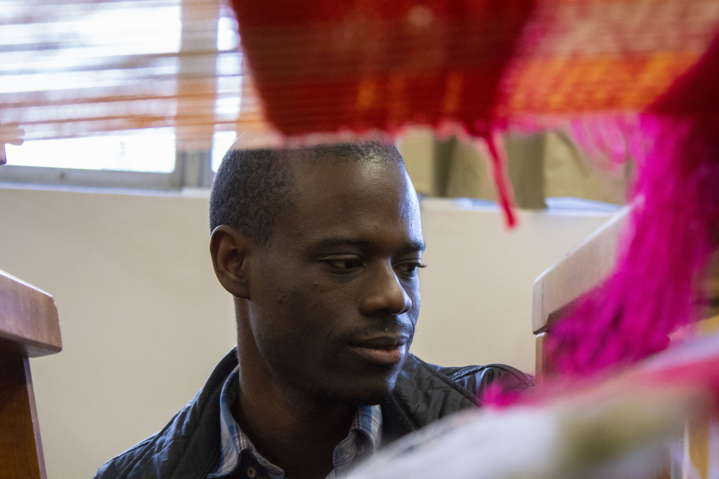 Diedrick Brackens teaches courses on fiber weaving at Cal State Long Beach and heads the CSULB Fiber program, which has been at the university for over 40 years.