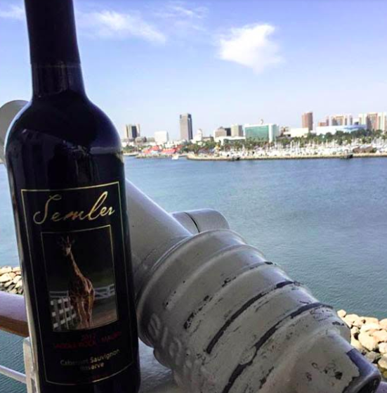 Credit : @malibuwinesqueenmary.  Enjoy Malibu Wines exclusive 2012 Cabernet Reserve overlooking downtown Long Beach aboard the Queen Mary.