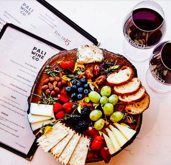 Credit @paliwineco. Add a delicious charcuterie tray to your tasting at Pali Wine Co. to complete your tasting.