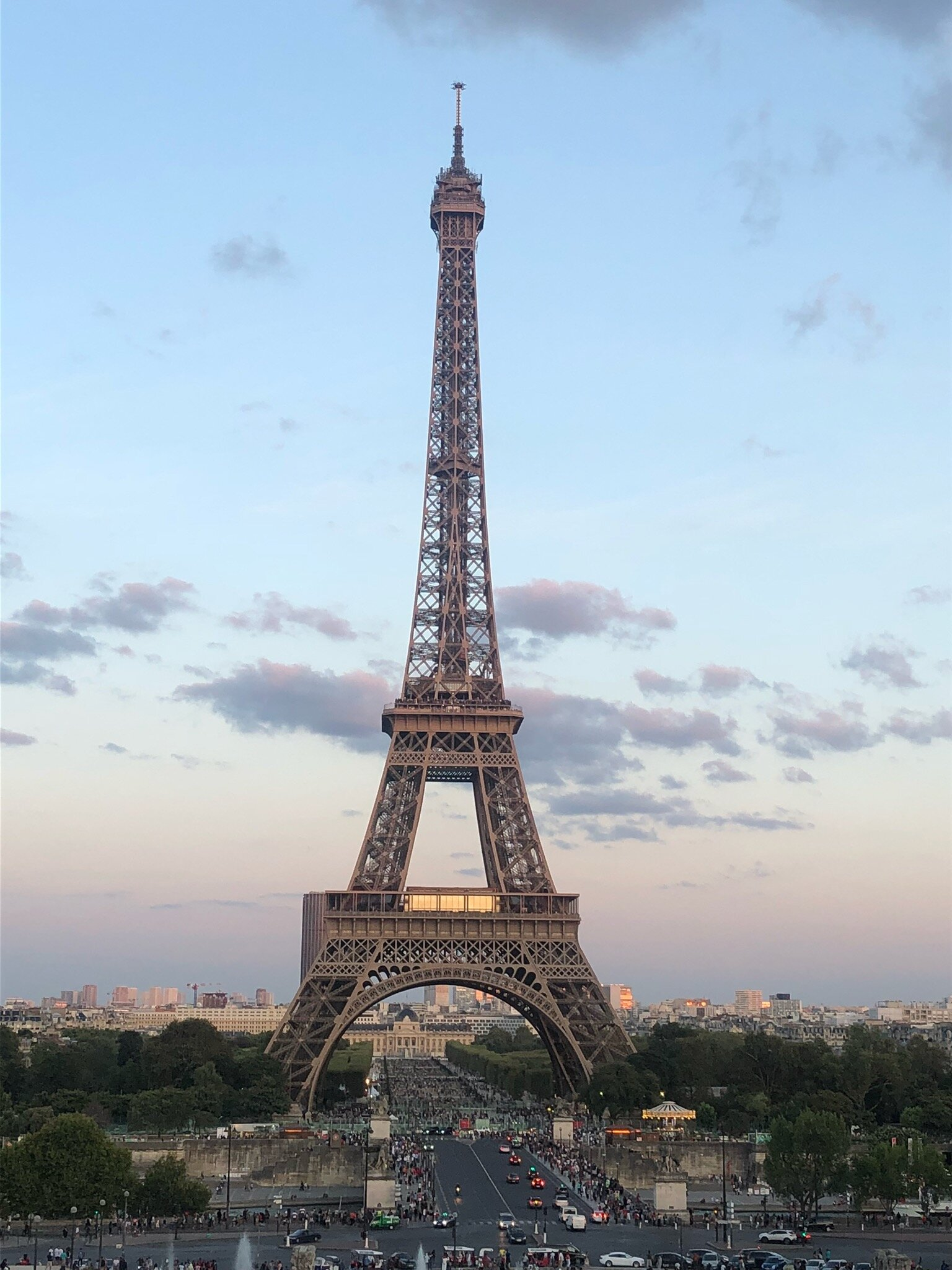 The Eiffel Tower sparkles for five minutes every hour, on the hour, in the evenings.