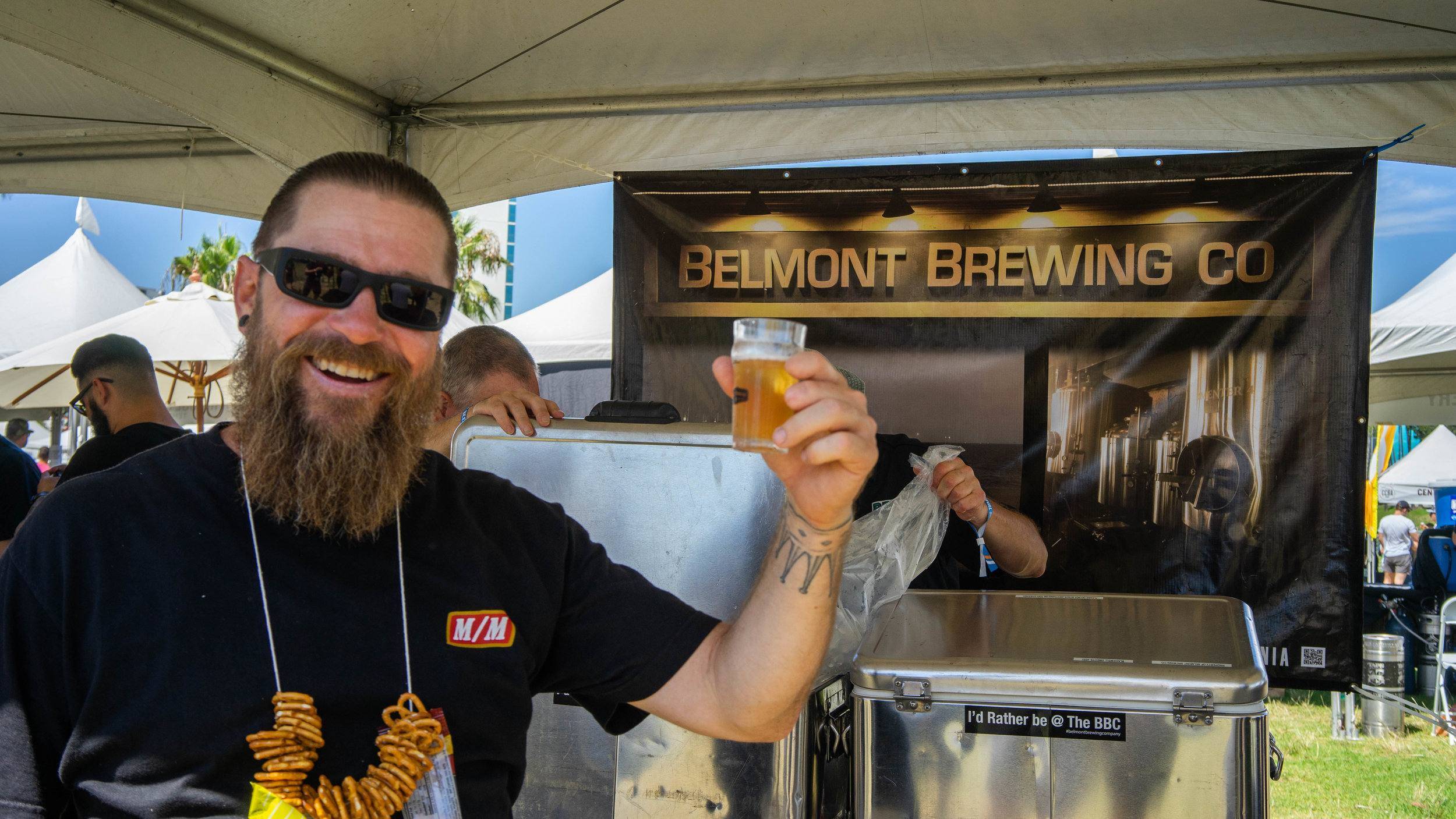 Many of the patrons were very enthusiastic about their favorite breweries. This man proclaimed himself the face of Belmont Brewing Co.