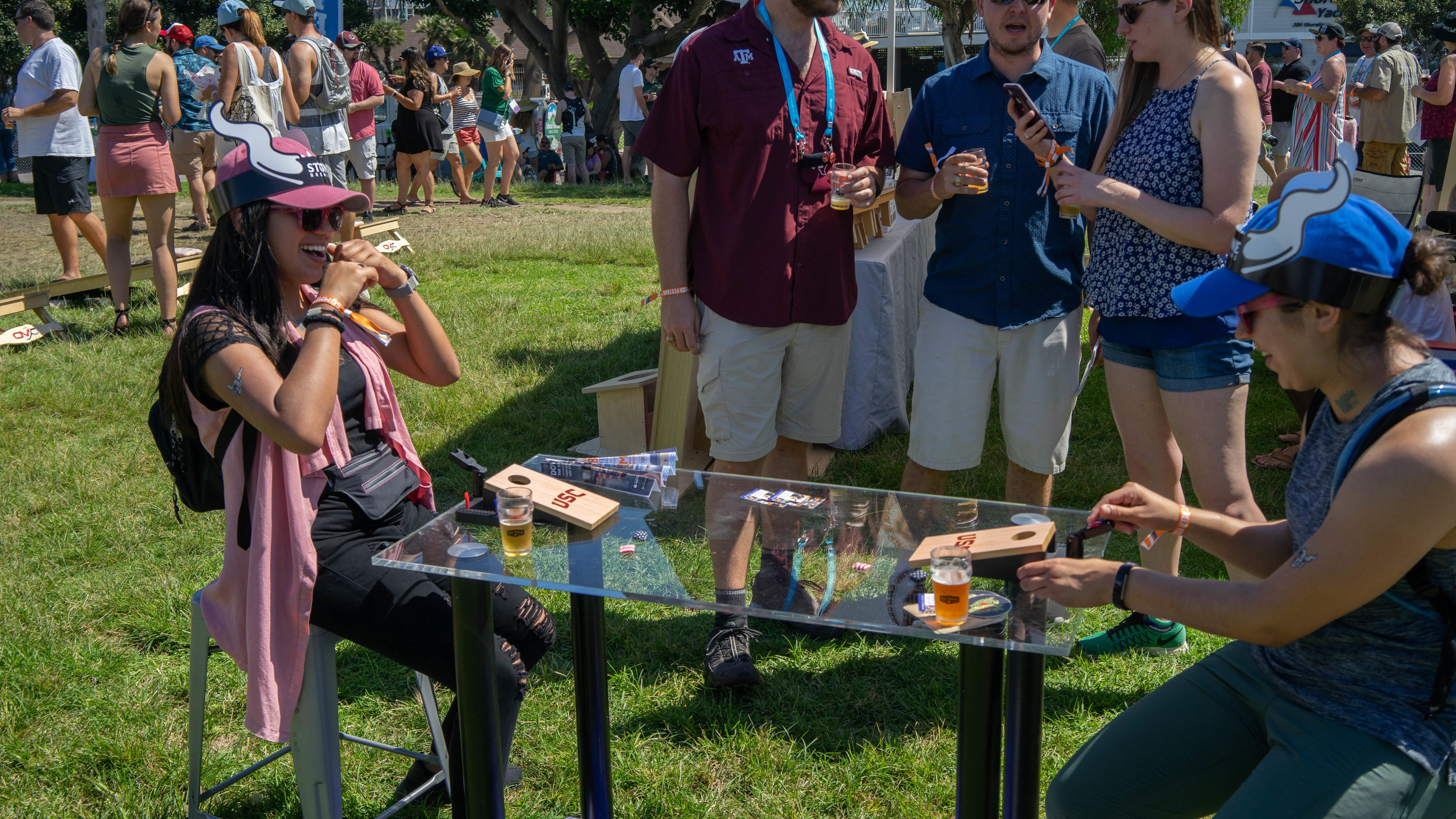 """Tabletop cornhole was a """"big"""" hit among the attendees."""