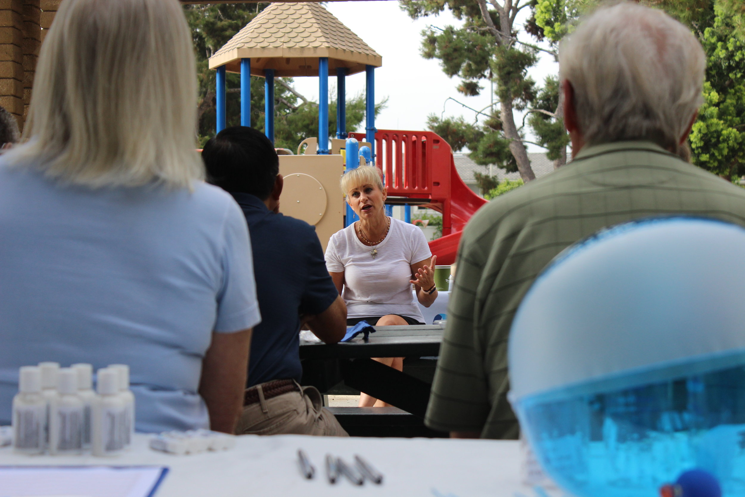This is Mesa Water District's Board Vice President Marice DePasquale at our Neighborhood Chats event. I was tasked with setting up these community outreach events to take pictures and promote the event via social media.