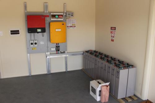 Inverter on walls, lead acid batteries on floor