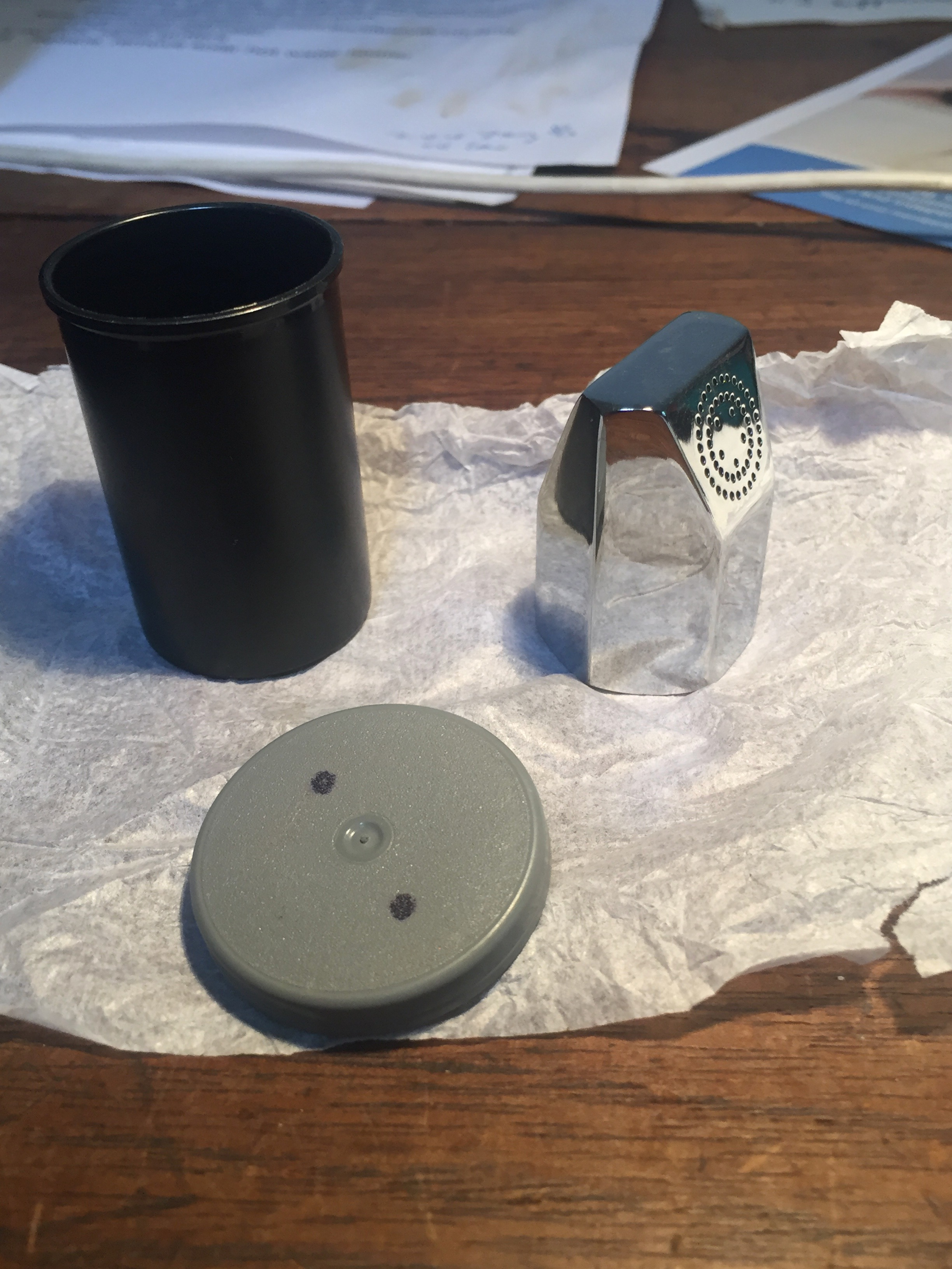 Ecoshower  comes in a small film canister and this is it on my desk when I unpacked it yesterday