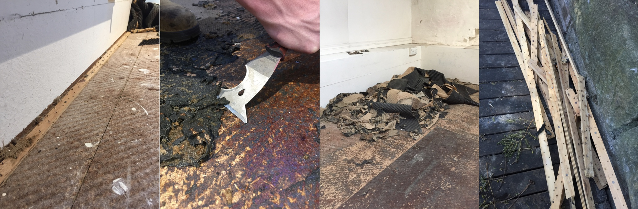 •  Broadloom carpet waste: nailed timber strips; glued underlay; underlay pile; nail strips pile