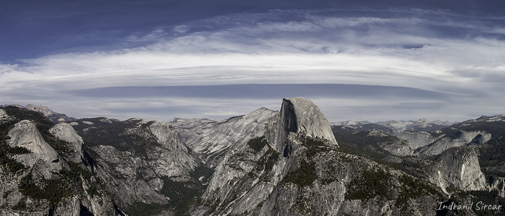 A view of Half Dome with lenticular cloud in the background, Yosemite National Park