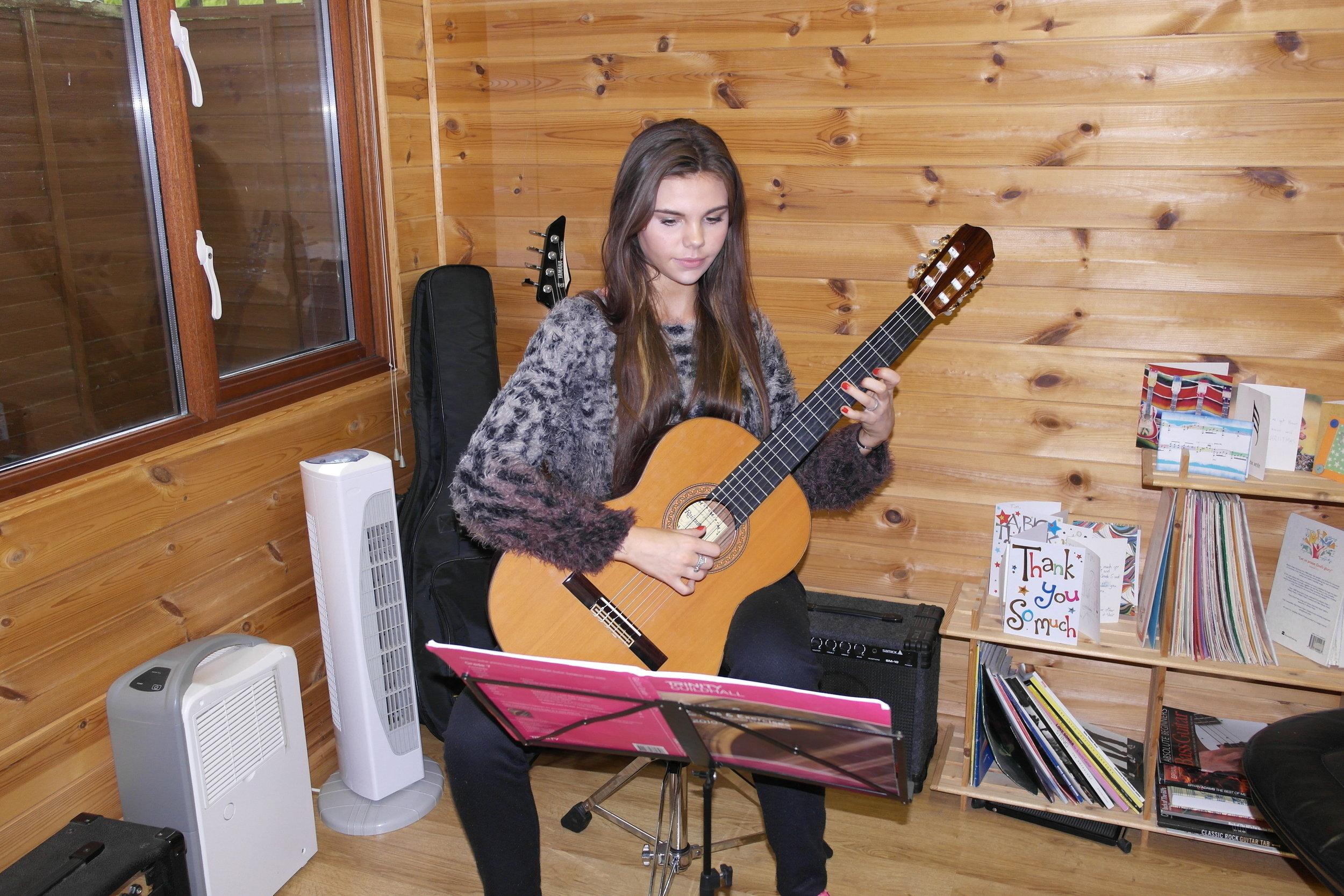 Gabriella Ryan working on her Grade 7 pieces
