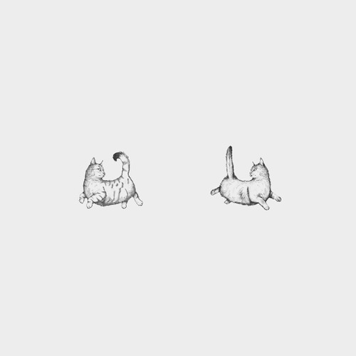 Two illustrated cats from The Drawing Room logo